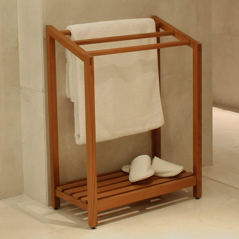 havana solid teak wood towel rack