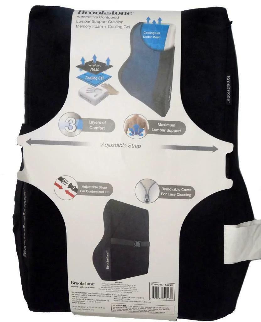 brookstone automotive lumbar support cushion black new