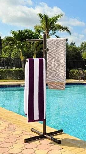 jamlyn pool spa towel rack bronze premium extra tall towel tree outdoor pvc