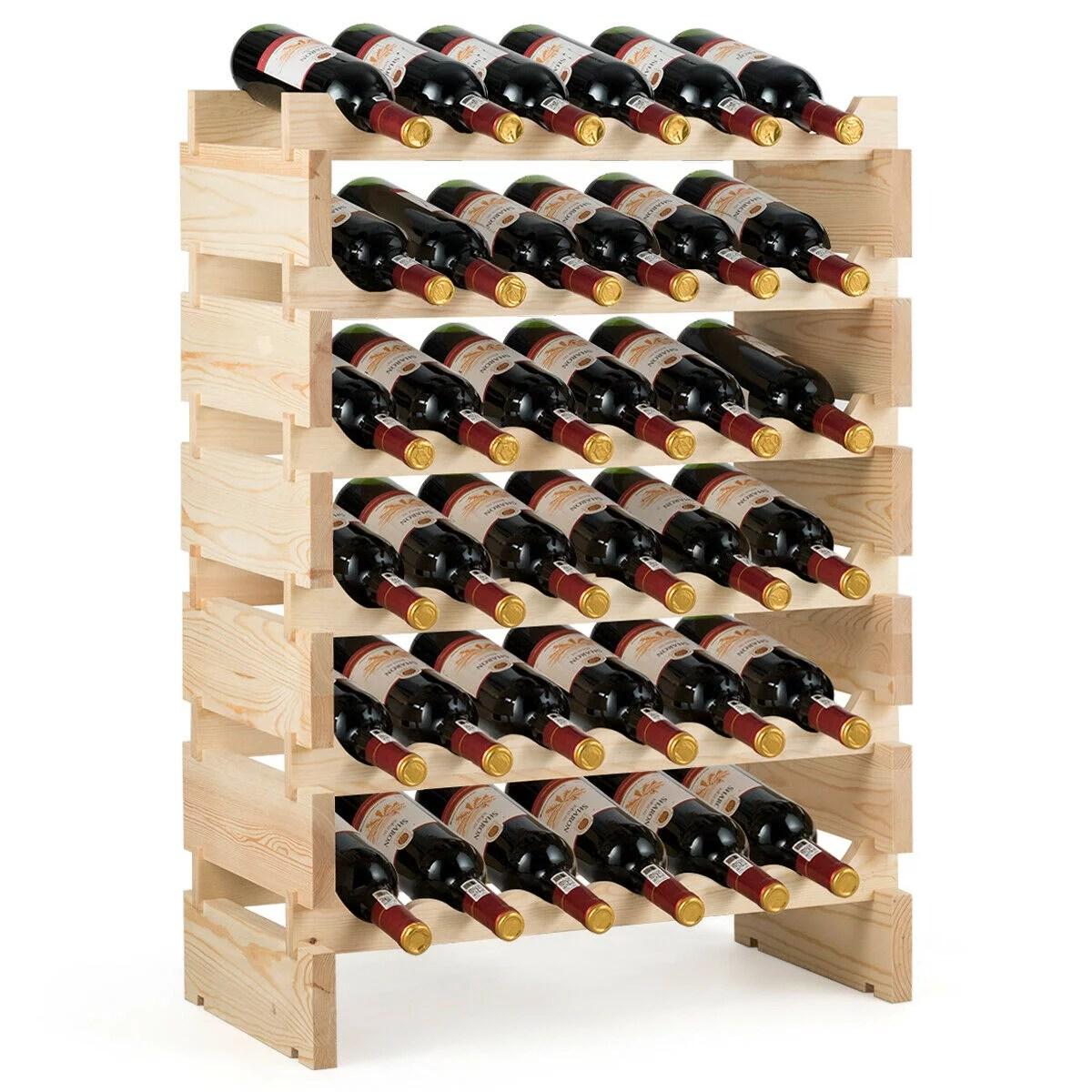 gymax 36 bottle modular wine rack 6 tier stackable wooden display shelves wobble free