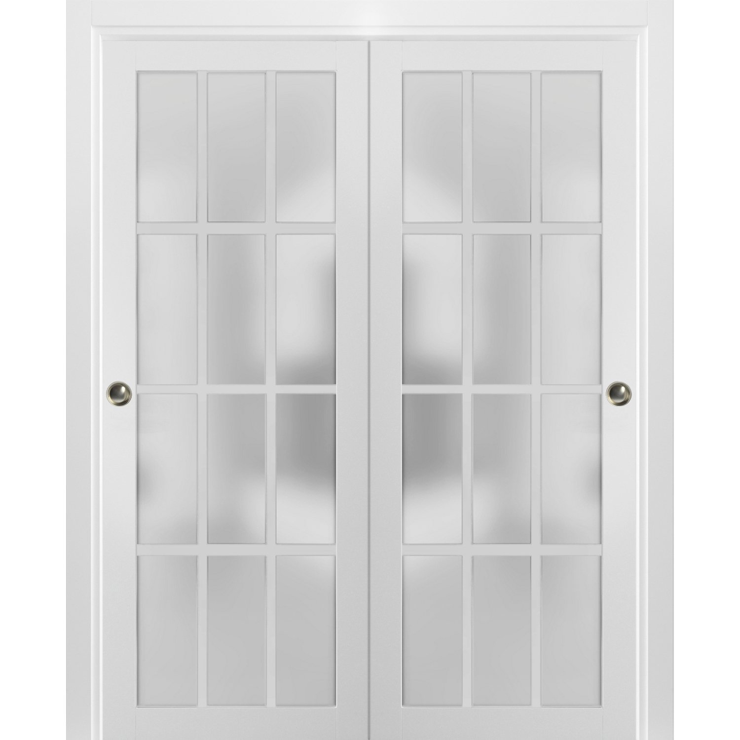 sliding closet frosted glass 12 lites bypass doors 60 x 80 inches felicia 3312 matte white sturdy top mount rails moldings trims hardware set