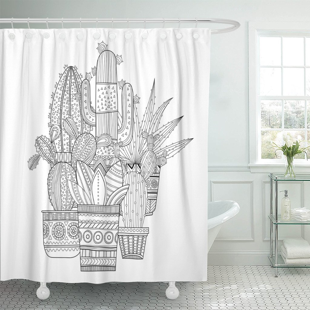 pknmt cactus cacti succulents black and white for coloring books polyester shower curtain 60x72 inches