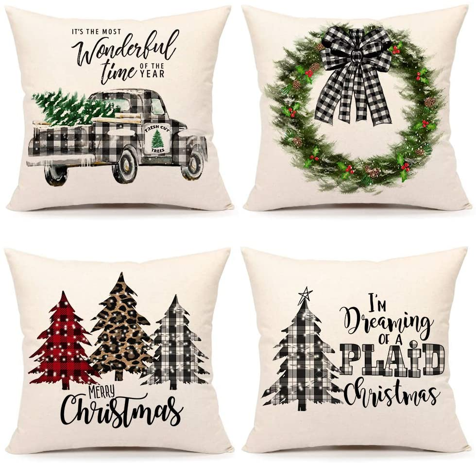 buythrow farmhouse christmas pillow covers 18x18 set of 4 country christmas decorations black and white buffalo plaid truck tree throw pillow cases
