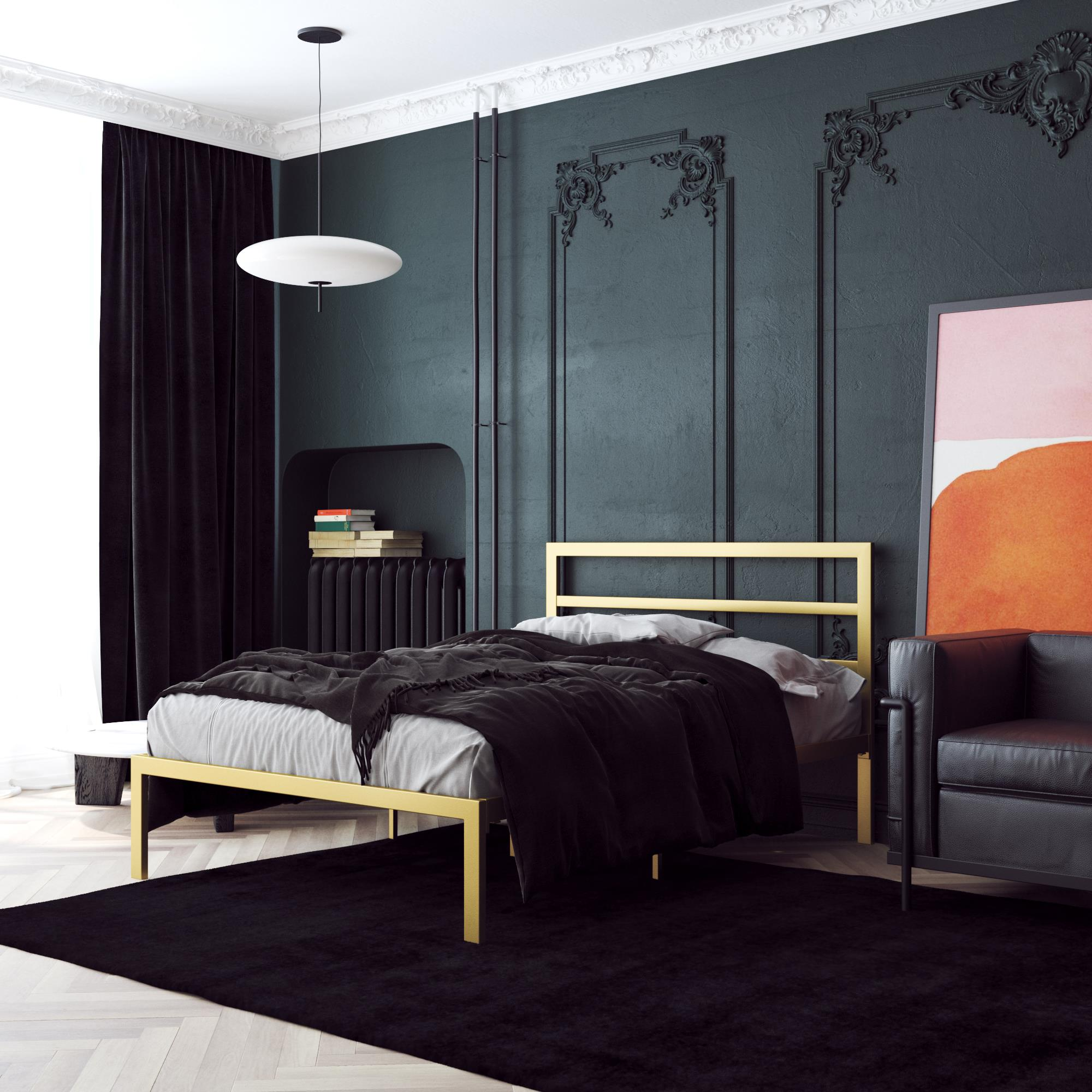 Signature Sleep Premium Modern Platform Bed With Headboard Metal Gold Multiple Sizes Queen Walmart Com Walmart Com