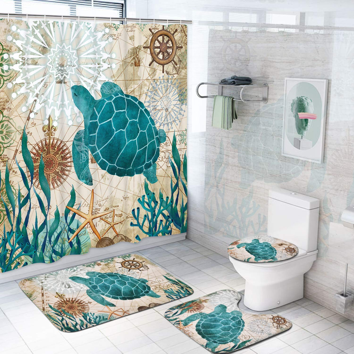 happyline sea turtle shower curtain sets with non slip rugs toilet lid cover and bath mat nautical ocean shower curtains with 12 hook s durable