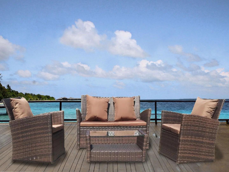 patiobox 4pcs luxury modern outdoor patio furniture brown rattan wicker brown cushion deep seating conversation set pillows