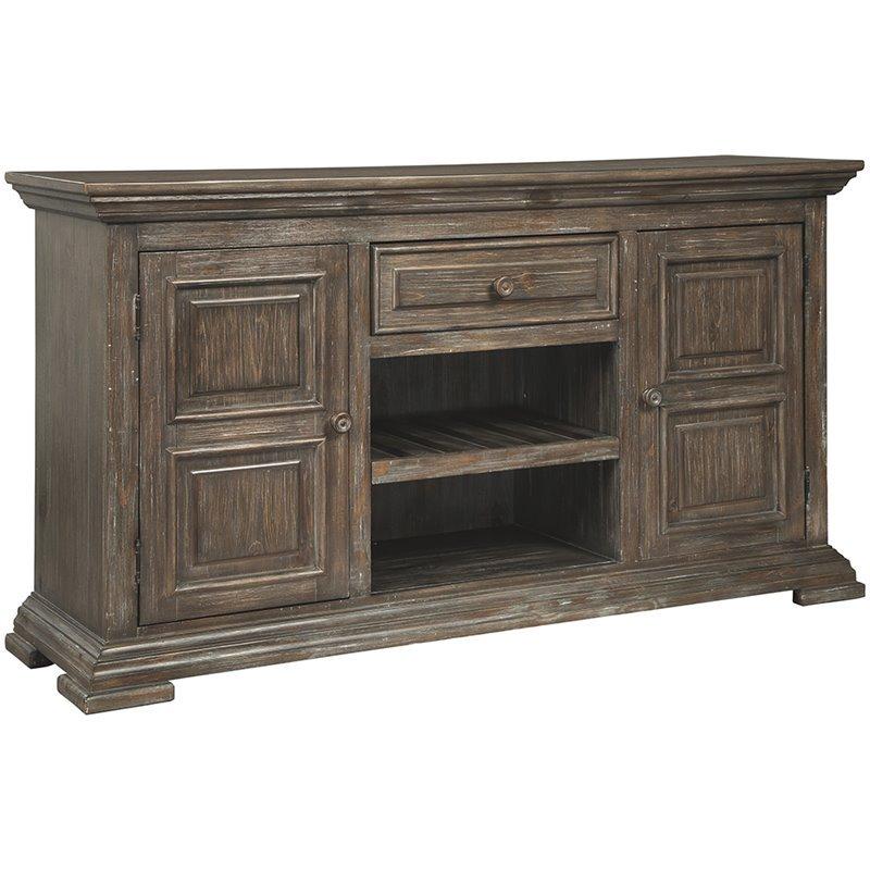 ashley furniture wyndahl 2 door wine rack server in rustic brown walmart com