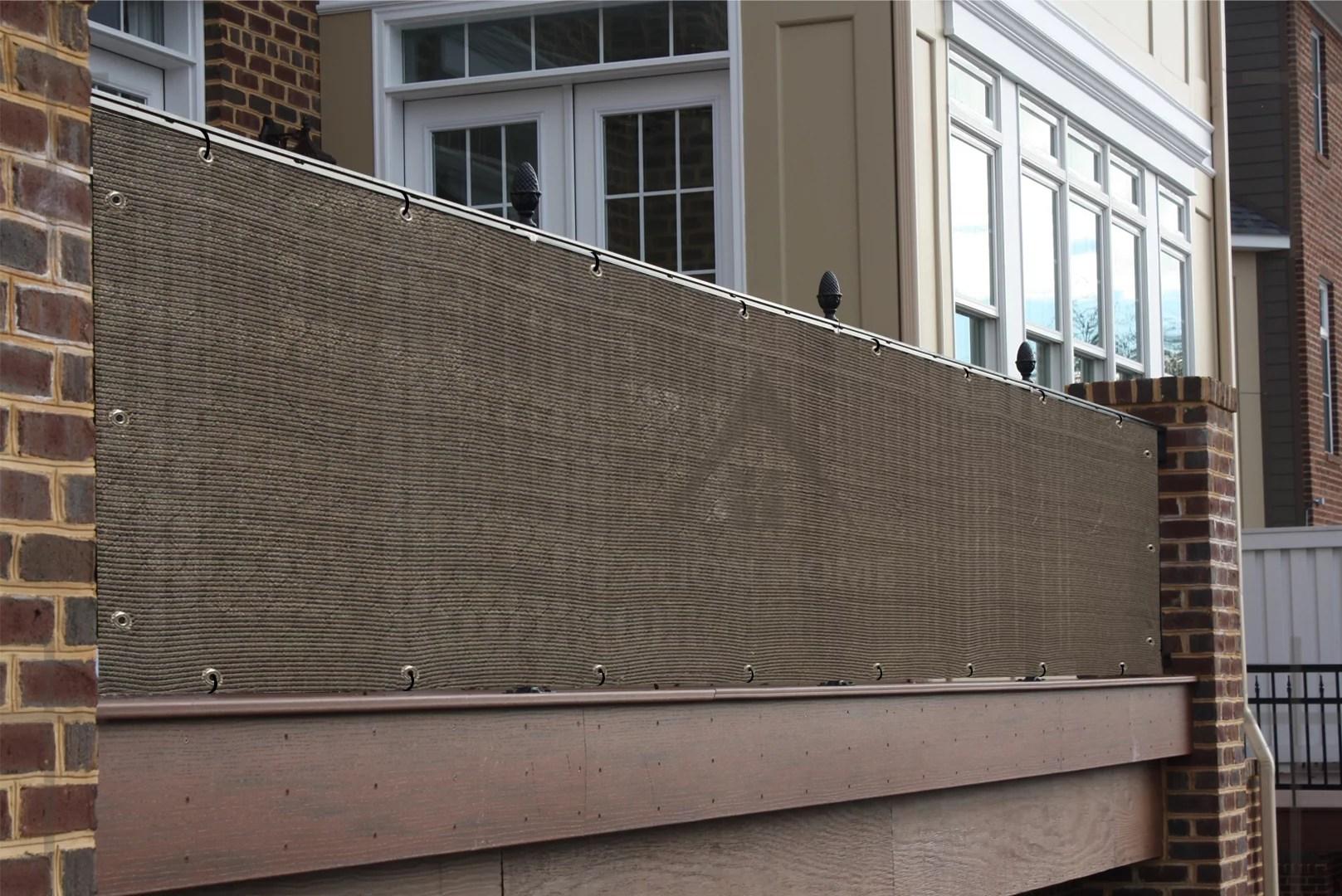 alion home mocha brown elegant privacy screen for backyard deck patio balcony fence pool porch railing 3 x 9