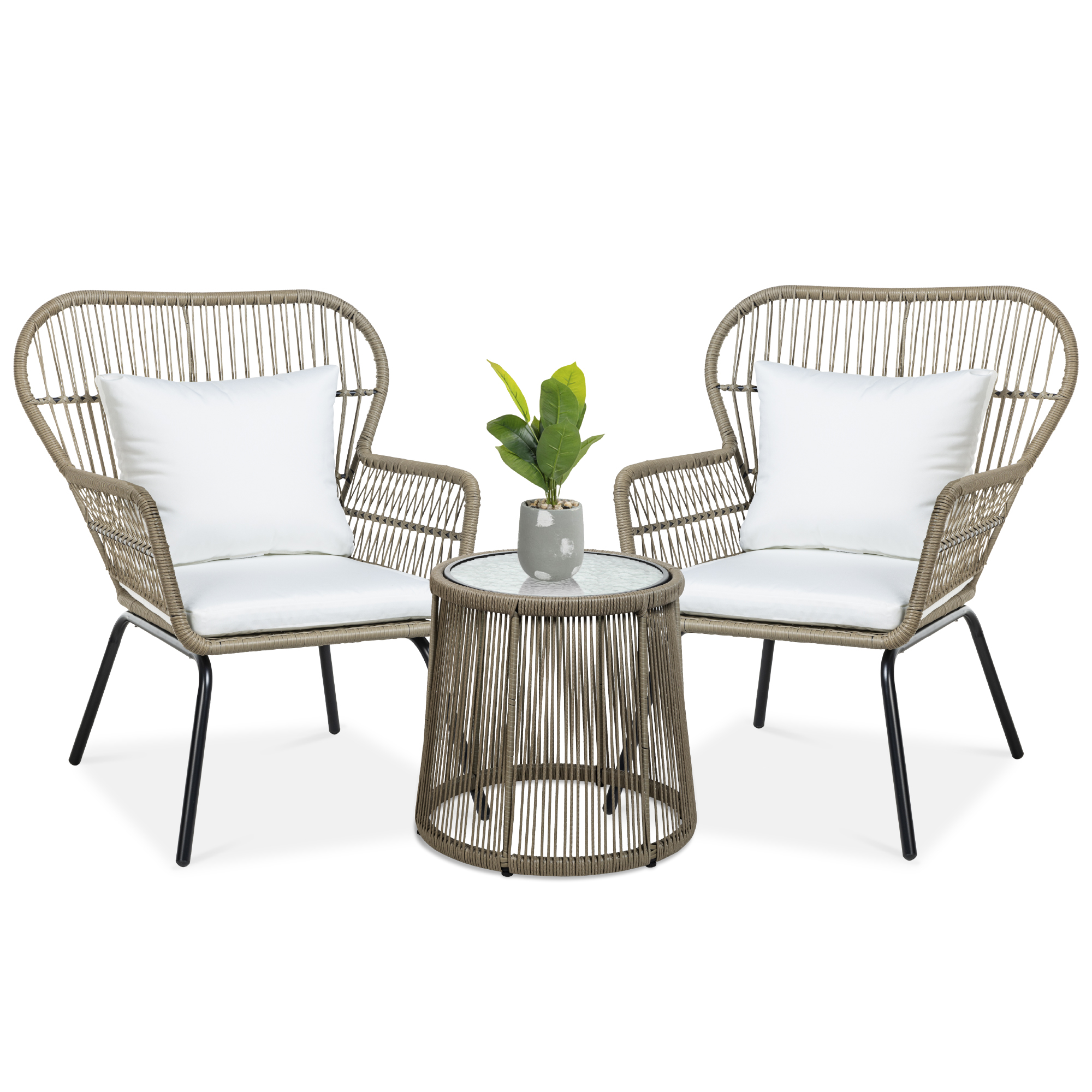 best choice products 3 piece patio wicker conversation bistro set w 2 chairs glass top side table cushions tan