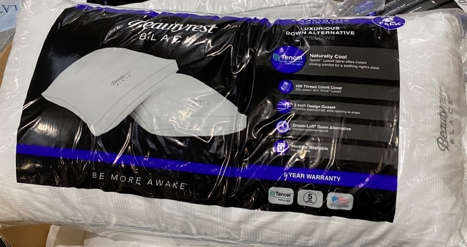 beautyrest black luxurious down alternative pillows king size 2 pack