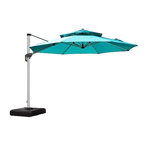 purple leaf 11 feet double top round deluxe patio umbrella offset hanging umbrella outdoor market umbrella garden umbrella turquoise blue
