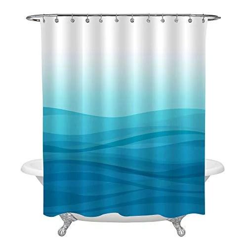 mitovilla light blue ombre shower curtain set with hooks modern simple gradual color design abstract sea ocean wave striped bathroom decor blue 72