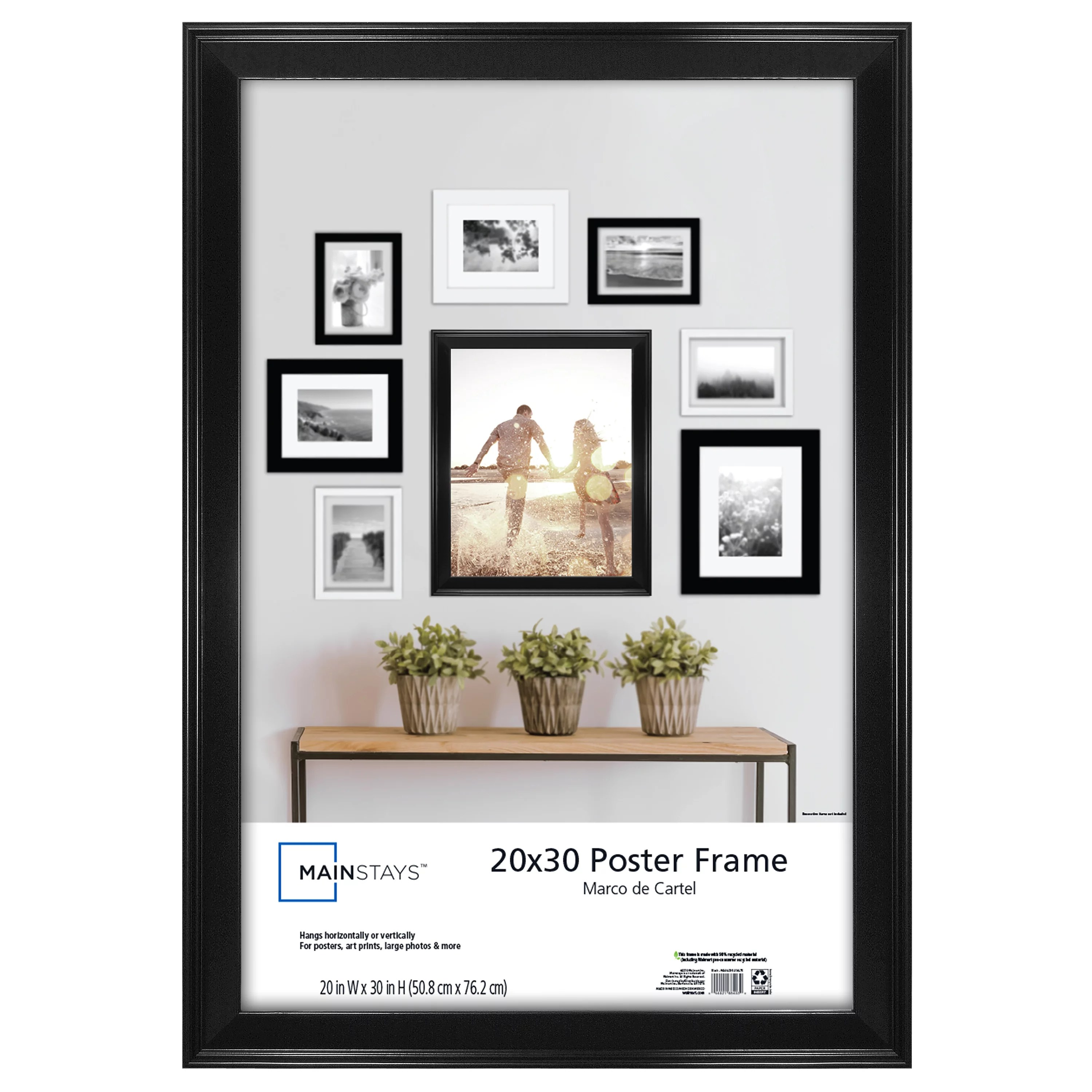 mainstays 20x30 beveled picture and poster frame black