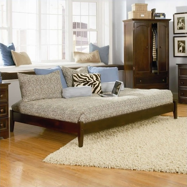 Atlantic Furniture Concord Platform Bed with Open Footrail in Antique Walnut-Twin