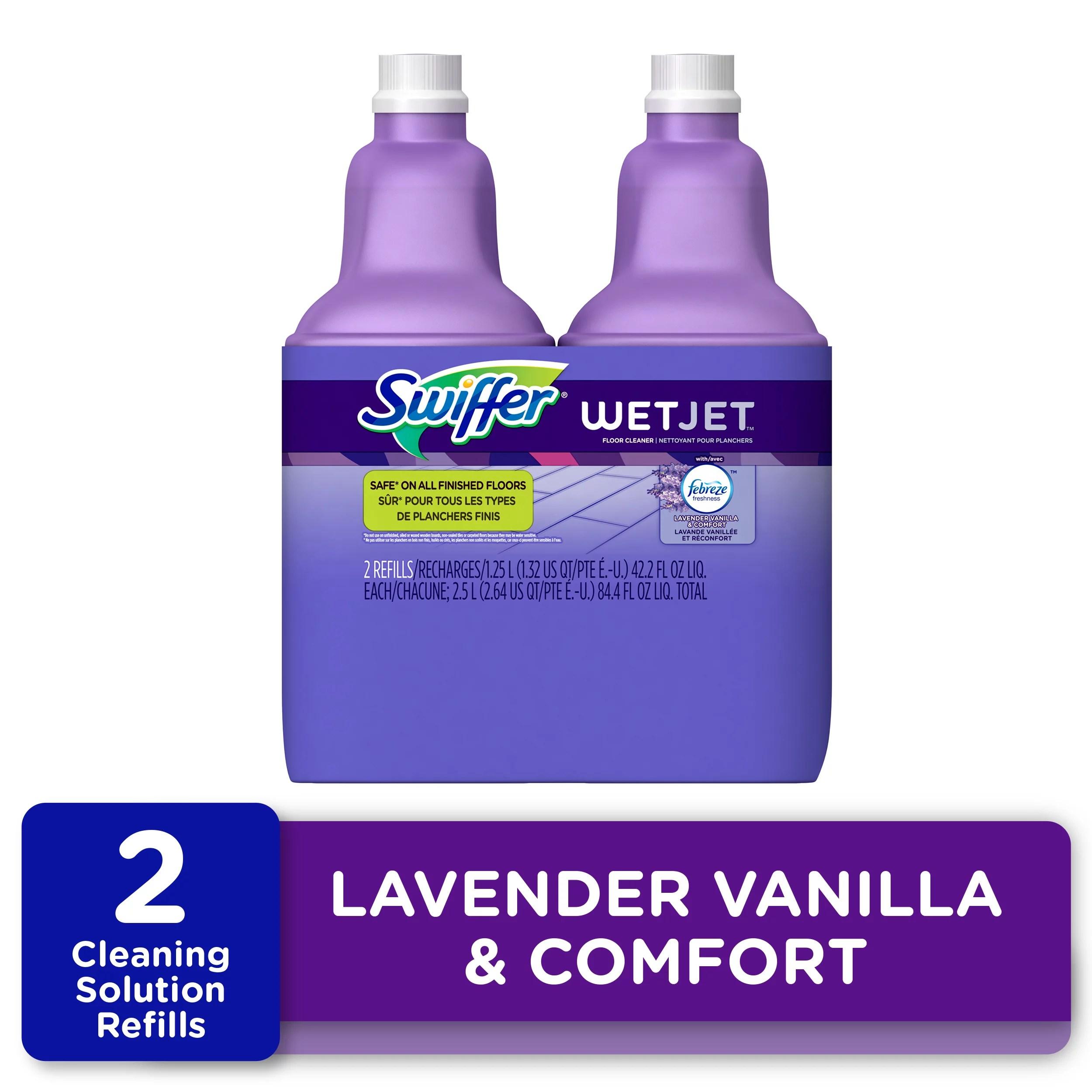 swiffer wetjet floor cleaner solution refill lavender scent 2 ct