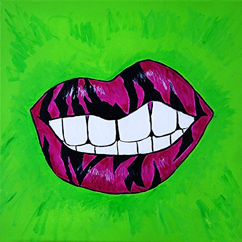 Zebra Snarl By Timmery Pop Art 12x12 Lipstick Art Print Home Decor Lime Green Pod Walmart Com Walmart Com
