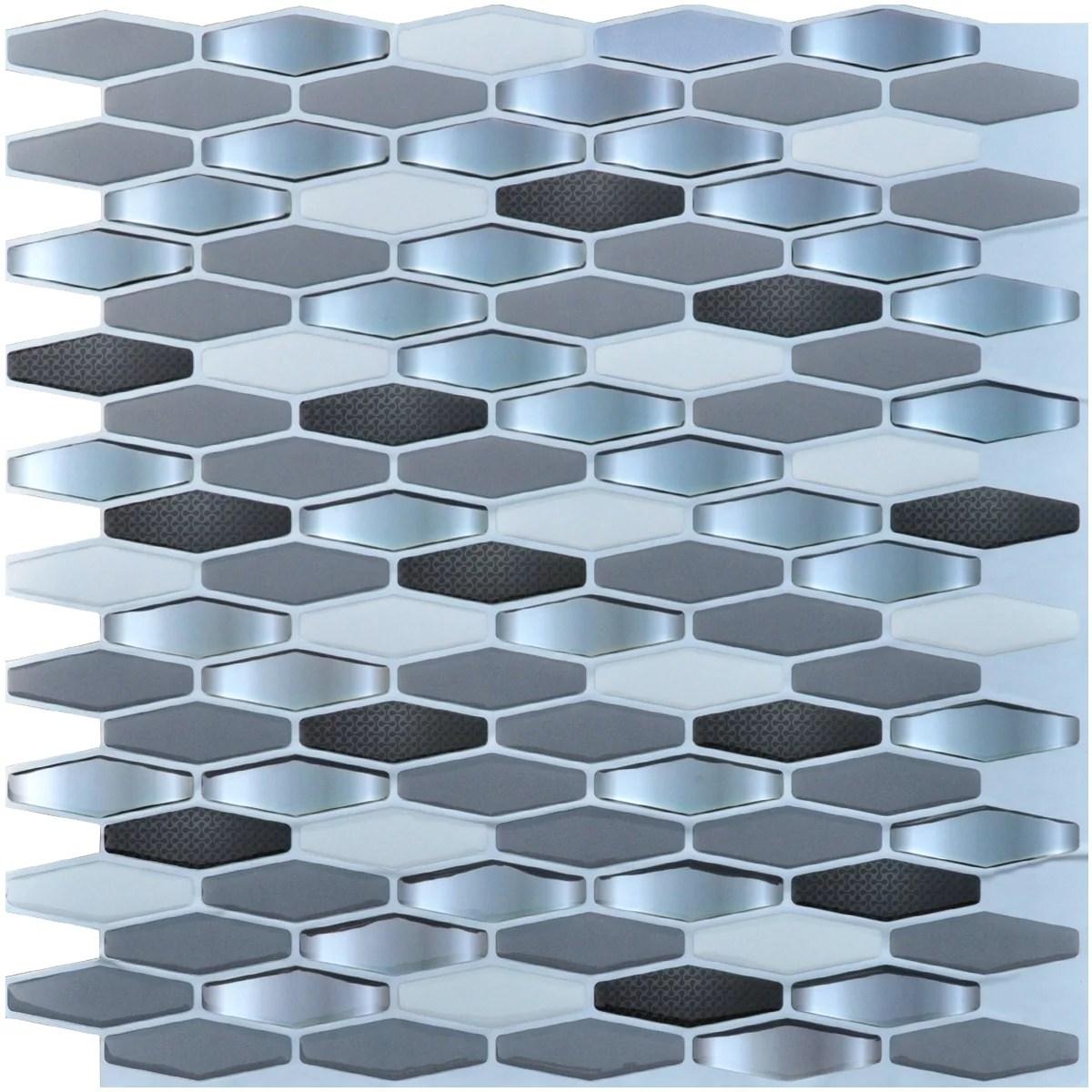 art3d gray rhombus 12 in x 12 in peel and stick wall tile backsplash 6 pack