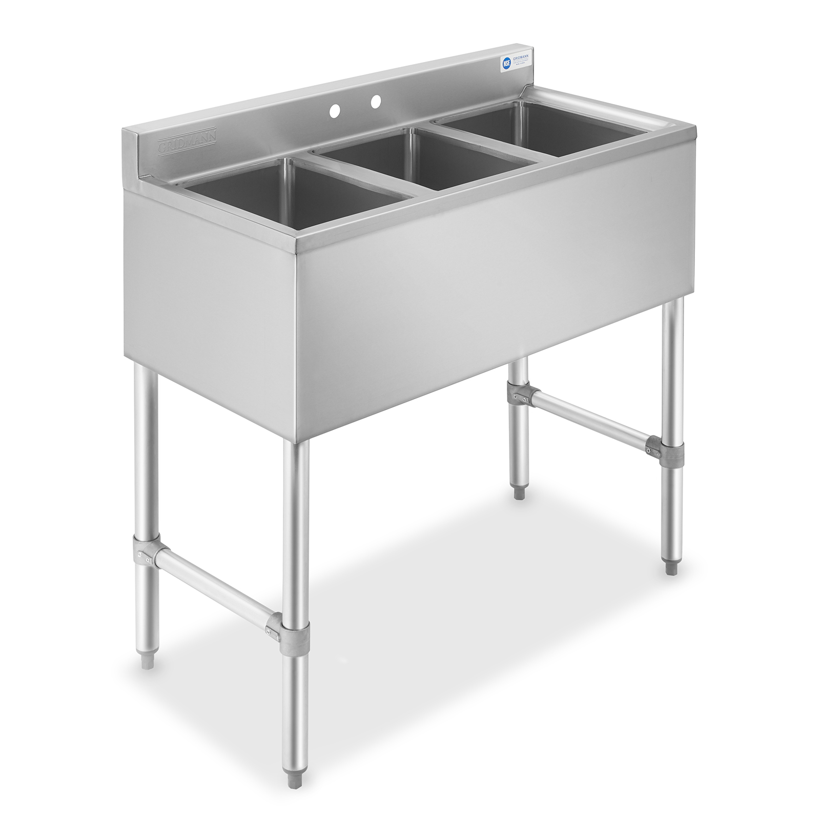 gridmann 3 compartment nsf stainless steel commercial bar sink walmart com