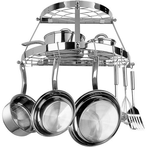 range kleen stainless steel double shelf wall pot rack
