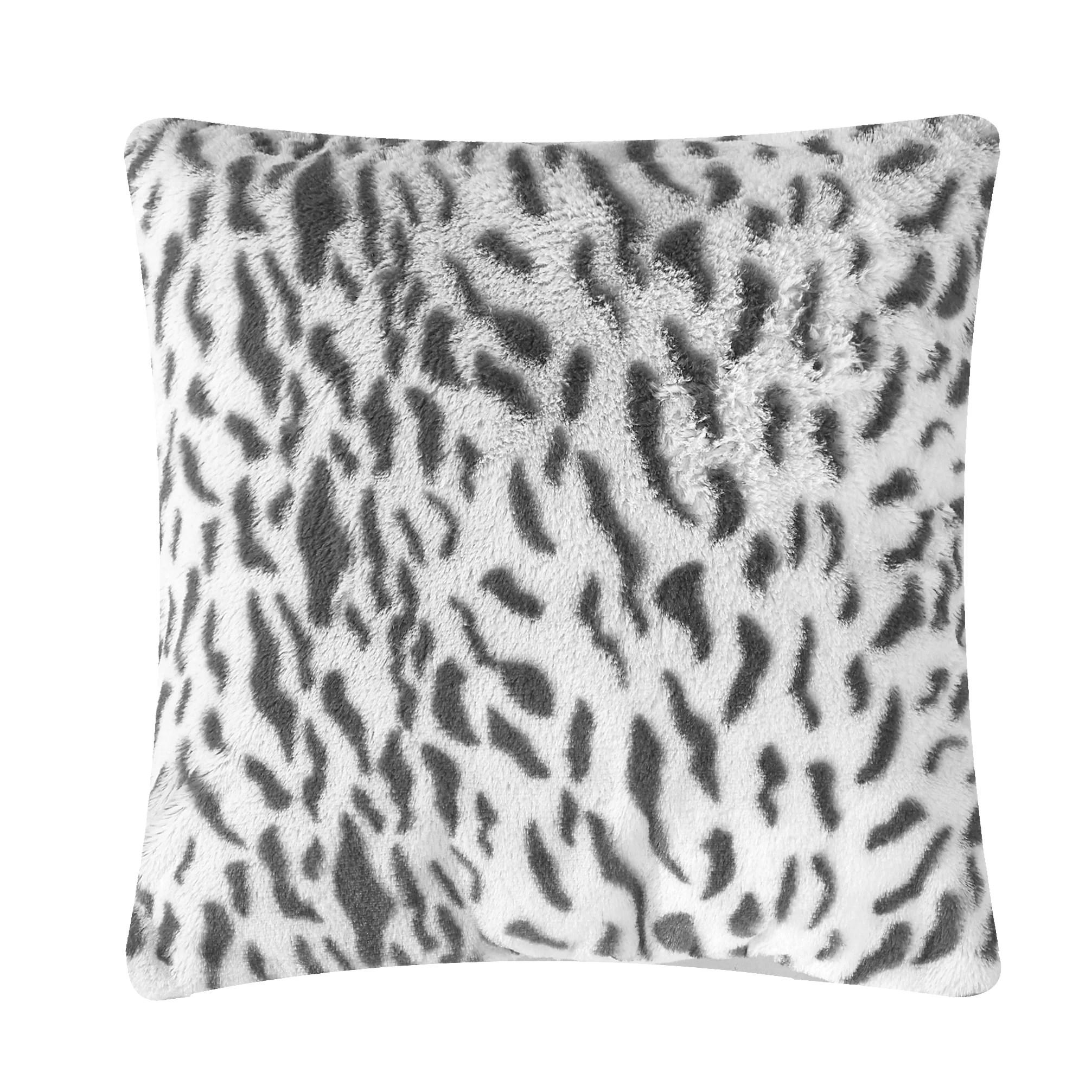 better homes gardens white snow leopard faux fur throw pillow
