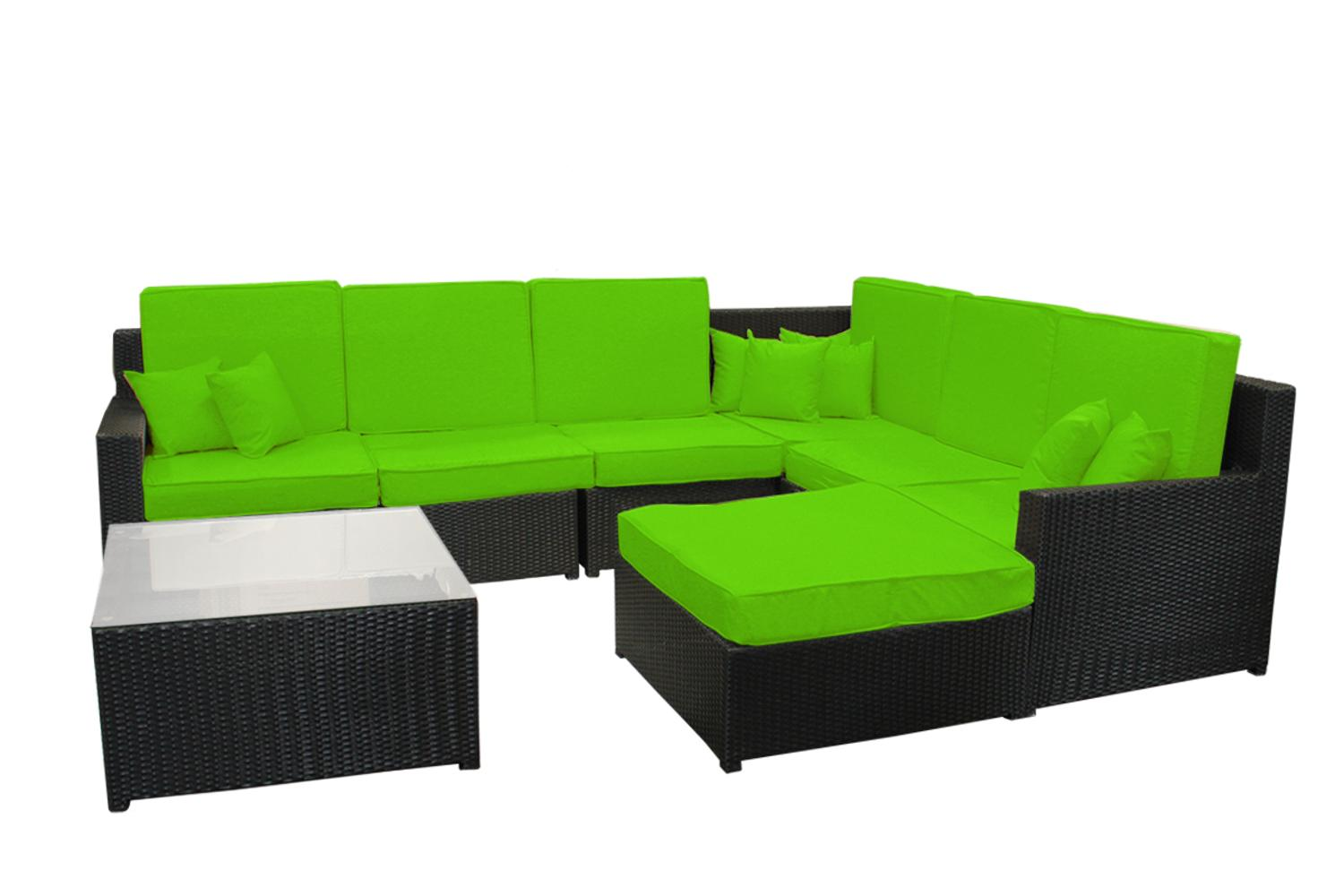 8 Piece Black Resin Wicker Outdoor Furniture Sectional Sofa Table And Ottoman Set Lime Green Cushions Walmart Canada