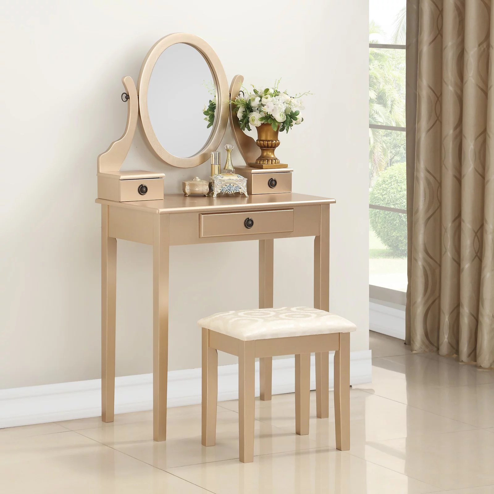 roundhill moniya wood makeup vanity table and stool set gold