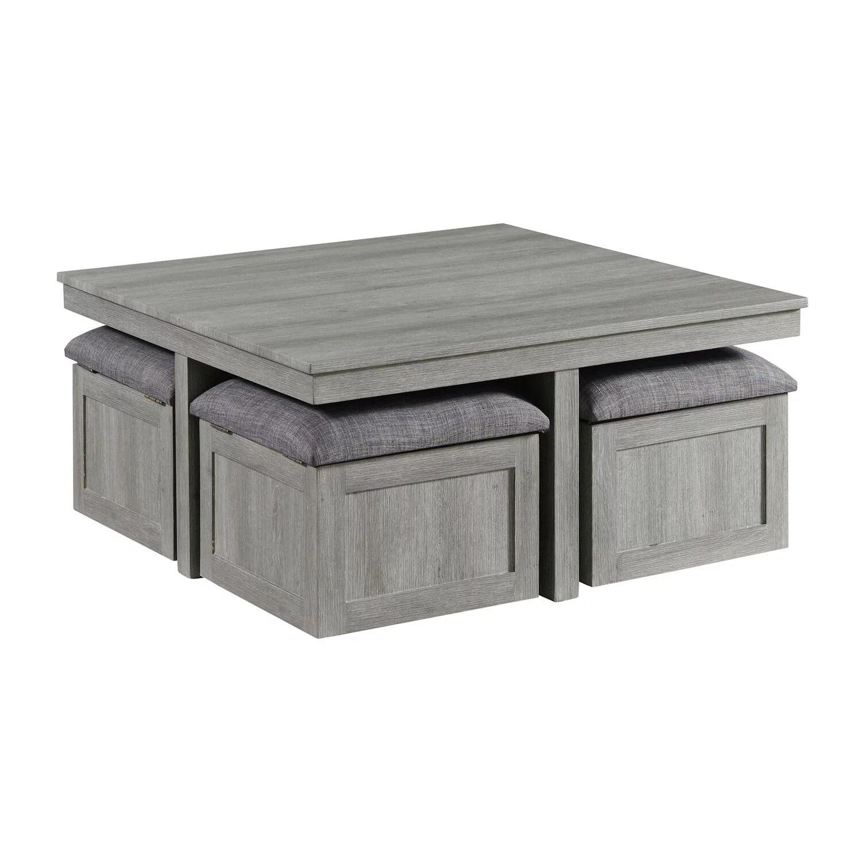 picket house dawson coffee table with four storage stools in grey walmart com