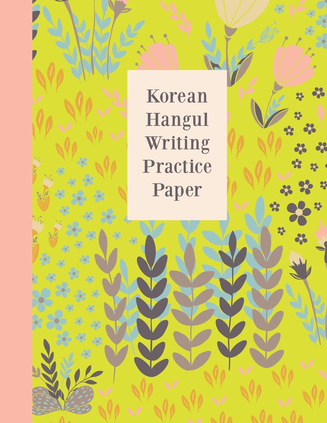Korean Hangul Writing Practice Paper Cute Floral Pattern