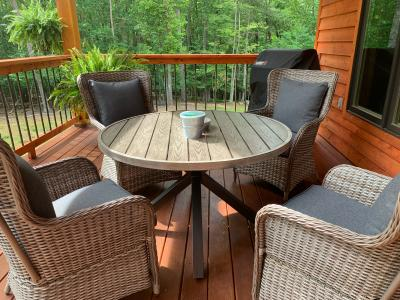better homes and gardens victoria outdoor dining patio set cushioned wicker 5 piece