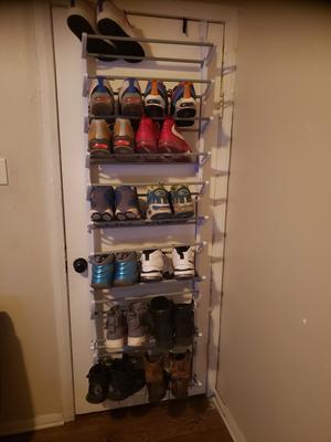 whitmor over the door shoe rack hanging organizer fold up nonslip bars 36 pair white