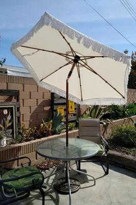better homes gardens ventura 7 5 fringe push up tilt patio umbrella white