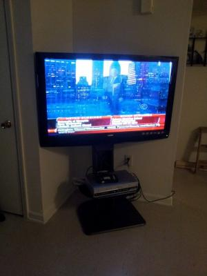 ameriwood home galaxy tv stand with mount for tvs up to 50 wide walnut walmart com