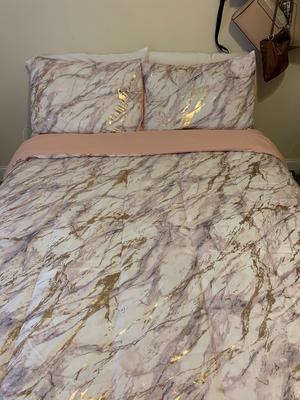 your zone metallic marble comforter bedding set twin twin xl rose gold