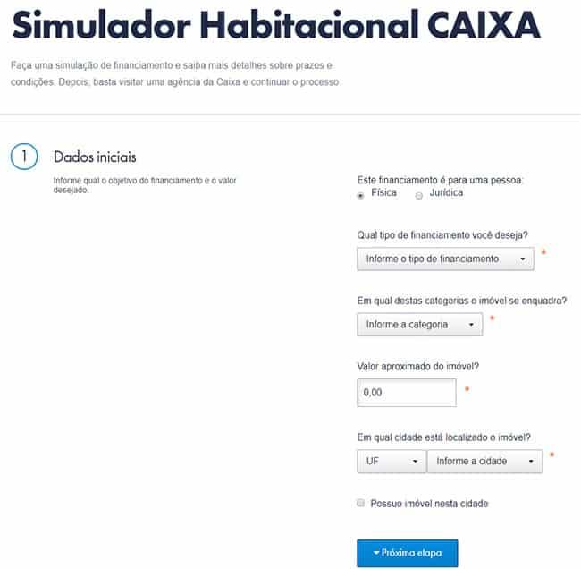 Simulador Habitacional CAIXA - Crédito Imobiliário