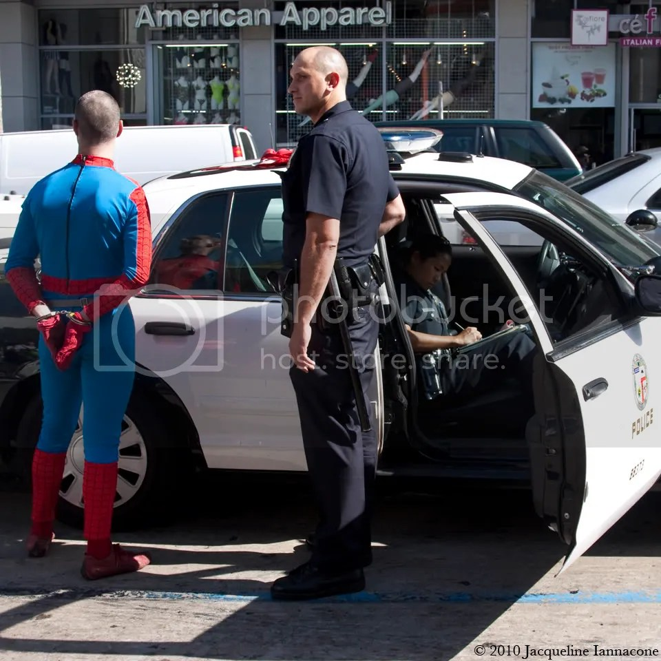 Spiderman getting arrested...