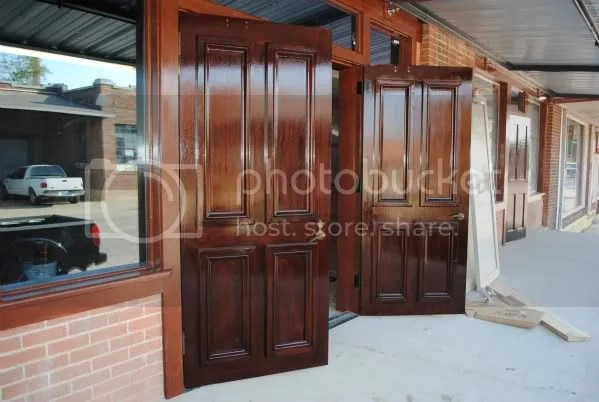 Newly Varnished Wooden Doors