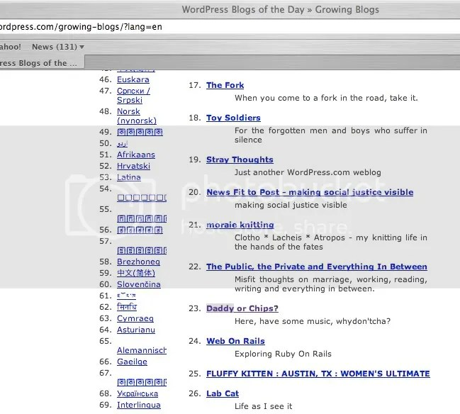 Screengrab of WordPress' Blog Of The Day page.