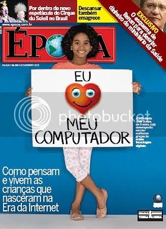 Image of magazine cover, child holding sign saying