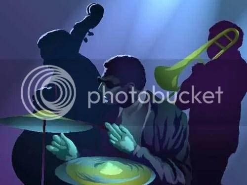 Image of boring genereric jazz combo playing instruments.