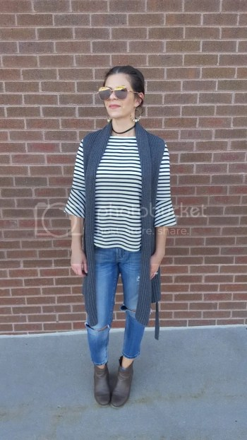 Bell sleeve stripe top, sweater duster, distressed crop jeans, booties