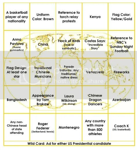 Yellow Bingo Card