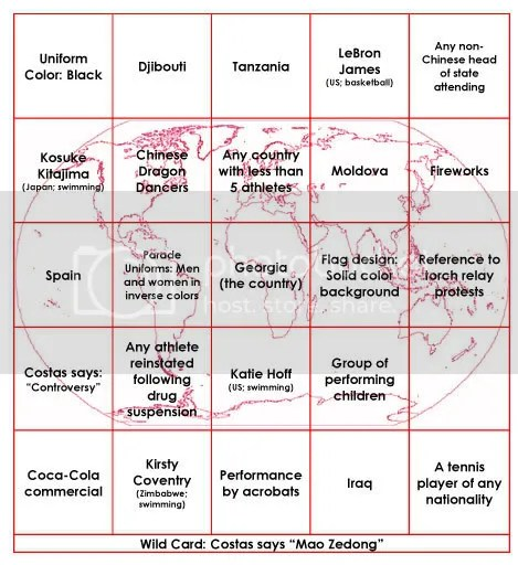 Red Bingo Card