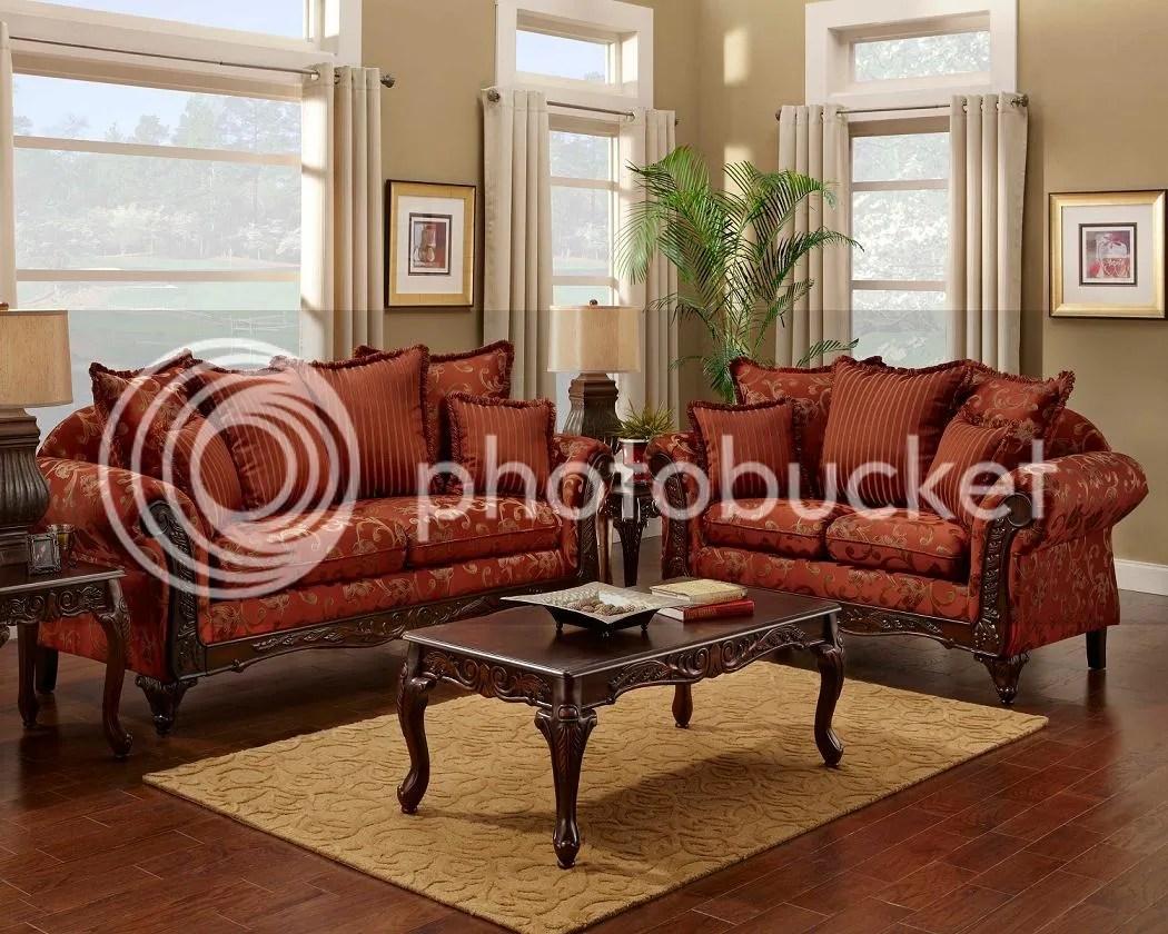 Serta Formal Magenta Antique Style Luxury Sofa & Love Seat