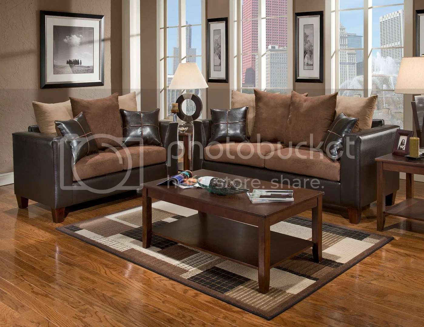 Casual Contemporary Chocolate Brown Sofa Love Seat Living