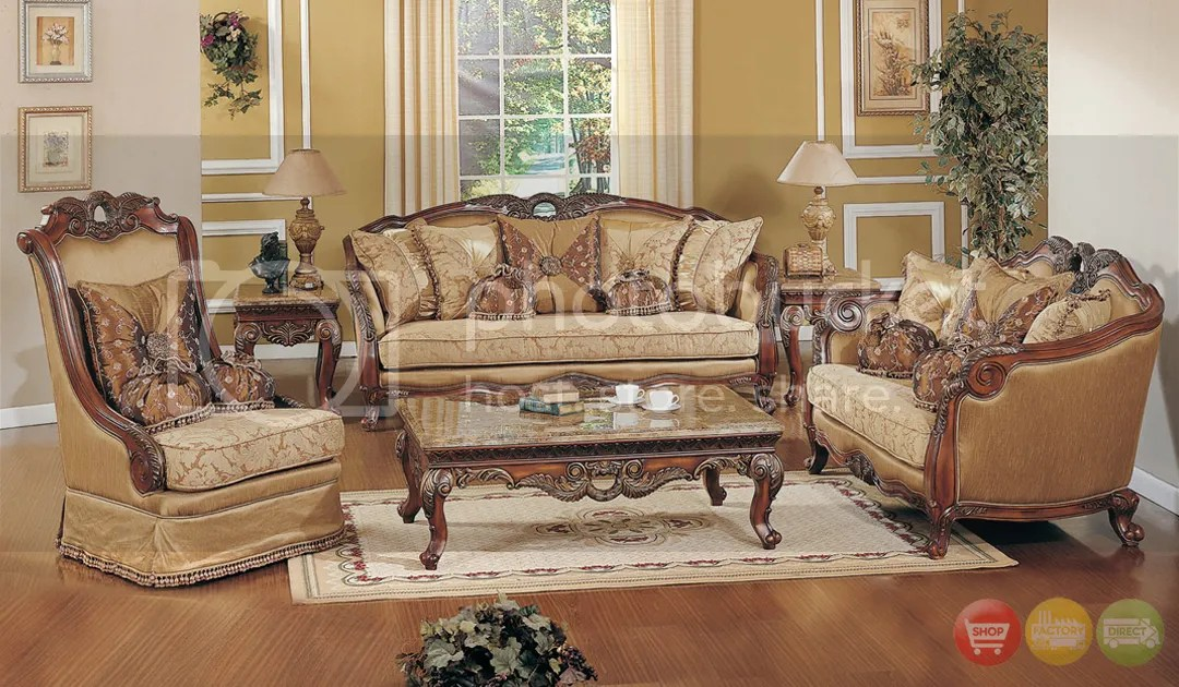 Exposed Wood Luxury Traditional Sofa & LoveSeat Formal