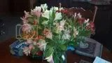 My bouquet of valentines flowers from my sweetheart. They will do til I can have him back. Thank you sweetheart.