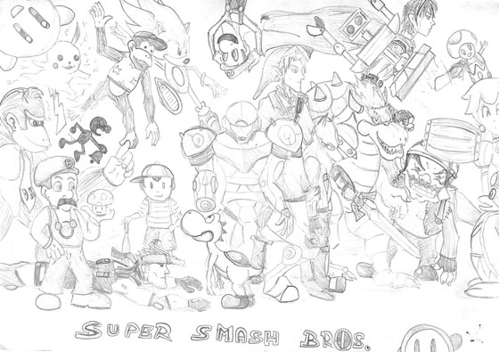 super smash bros bralw wii  free colouring pages