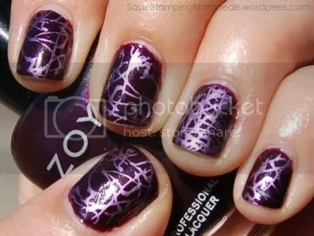 Zoya Slone with Konad m73 Sally Hansen Chrome Makeup Royal Purple Chrome