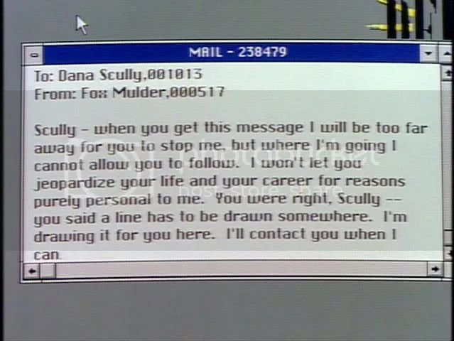 Investigaciones de Area 42 concluyen que este es un correo electrónico para Scully tuvo que leer en el computador de Mulder