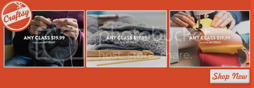 Any Craftsy class $19.99 with code MYTREAT Valid thru 5/14 See site for details